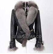 Leather Coat with Fur