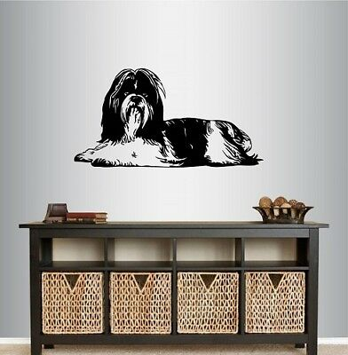 Vinyl Decal Lying Dog Shih Tzu Breed Bedroom Nursery Pet Shop Wall Sticker 1451