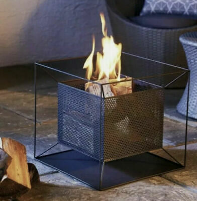 Gardenline Basket Square FirePit Chiminea Chimenea Wood Log Burner Patio Heater!