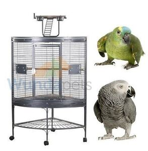 A13 ANTIQUE BLACK CORNER PARROT CAGE WITH PLAYTOP ON CASTORS AFRICAN GREY AMAZON