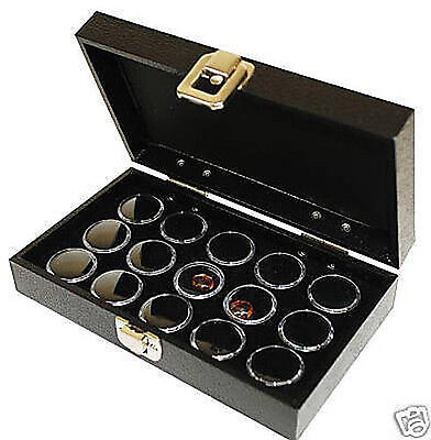 Gemstone Gem Jar Wood Display Case 15 Black Jar Organizer Storage Travel