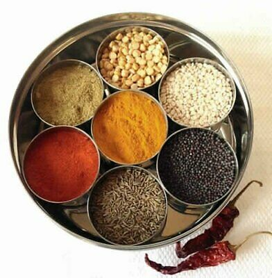 Masala Spices Storage Box Indian 7 Spice Tin Box Tandoori Stainless Steel Dabba Indian Spice Kitchen