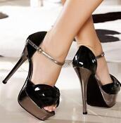Ladies Black High Heel Sandals