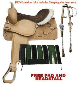 "14"" 15"" 16"" Western Barrel Racing Saddles $747 Leather FULL Bars London Ontario image 4"