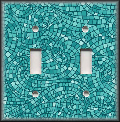 Metal Mosaic Plates - Metal Light Switch Plate Cover - Mosaic Swirl Home Decor Turquoise Blue