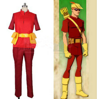 Young Justice Costumes (Young Justice Roy Speedy Cosplay Costume Outfit Custom Made :Free)