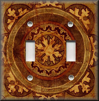 Metal Light Switch Plate Cover - Old World Tuscan Distressed Medallion - Copper