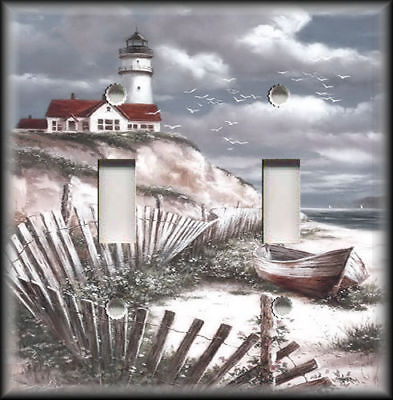 Lighthouse Light Switch Covers - Metal Light Switch Plate Cover - Beach Lighthouse Decor Coastal Home Decor 02