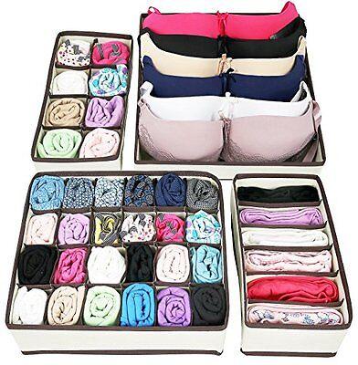 Greenco Collapsible Underwear Drawer Divider Closet Organizer - Set 4, Beige