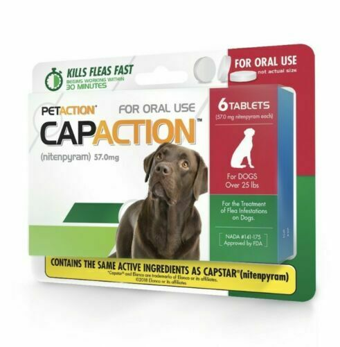 Petaction CAPACTION 6 tablets Kills Fleas Dogs OVER 25 lbs New Sealed EXP. 04/21