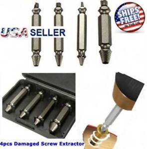 4pc Broken Bolt Remover Extractor Drill Bits Easy Out Stud Reverse Damage Screw