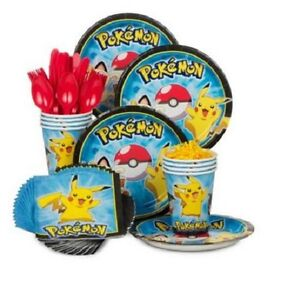 Pokemon Birthday Party Kit for 8, Plates, Cups, Napkins and Cutlery