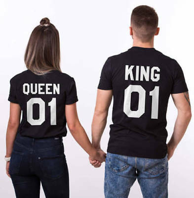 King 01 OR Queen 01 T Shirt- Love Matching Couples -  Tops  unisex