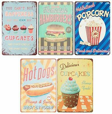 Vintage Tin Signs - 5-Piece Retro Style Metal Signs As Wall Decor, Decorative
