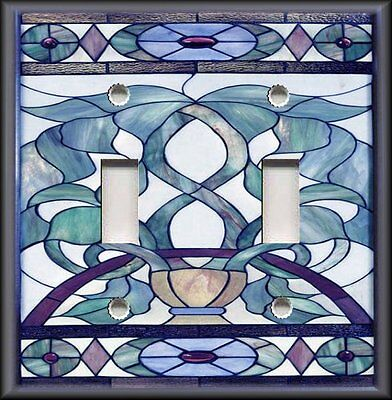Metal Light Switch Plate Cover Art Nouveau Stained Glass Pattern Decor Blue
