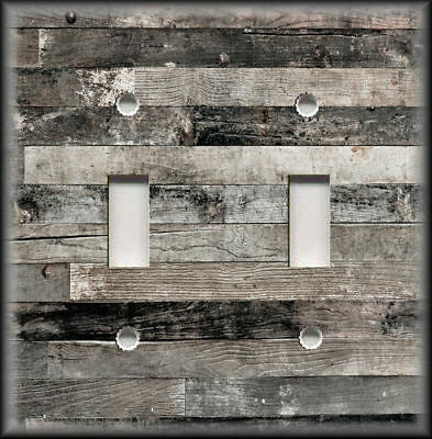 Metal Switch Plate Covers Rustic Industrial Decor Reclaimed Wood Design Grey 01 ()