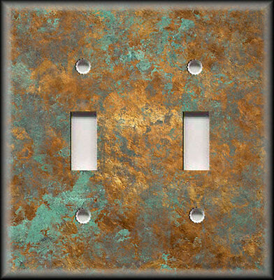 Light Switch Plate Cover - Image Of Aged Copper - Patina - Home Decor Rustic -