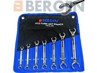 NEW - BERGEN Flare Nut Spanner Set 7pc Brake Pipe Gas Fuel Spanner Flare Wrench 8-24mm