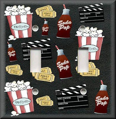 Metal Light Switch Plate Cover Movie Room Decor Movie Snacks Popcorn Theater