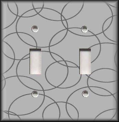 Metal Light Switch Plate Cover - Modern Art Circles - Grey Home Decor Wallplate ()