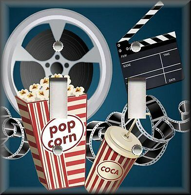 Home Theater Decor Metal Light Switch Plate Cover Movie Film Reel Popcorn Decor ()
