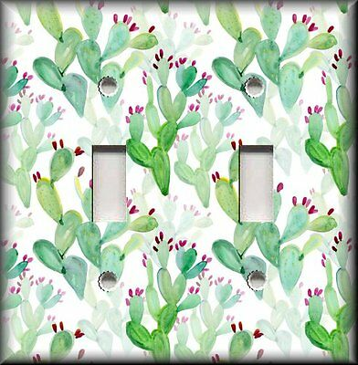 Metal Light Switch Plate Cover - Prickly Pear Cactus Decor Succulents Decor  ()