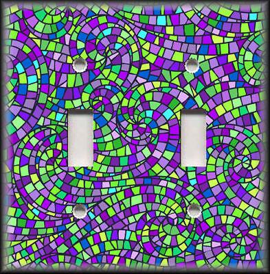 Metal Mosaic Plates - Metal Light Switch Plate Cover - Mosaic Swirl Home Decor Purple Green 01