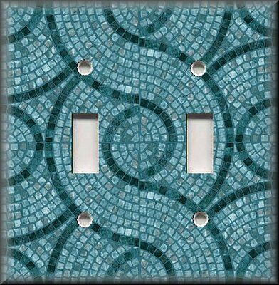 Lighting Luna Bath - Light Switch Plate Cover - Tile Swirl Pattern Dark Teal Kitchen Bath Home Decor