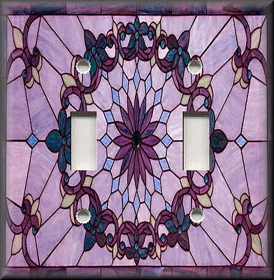 Art Glass Switch Cover (Metal Light Switch Plate Cover - Art Nouveau Decor Stained Glass Decor Purple)