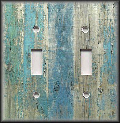 Metal Light Switch Plate Cover Beach Aged Wood Image Blue - Coastal Home Decor