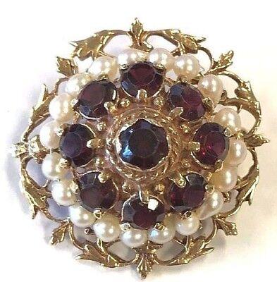 14 Karat Yellow Gold Vintage Pearl and Garnet Gemstones Brooch Pin Pendant P45