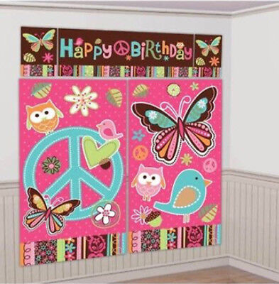 HIPPIE CHICK Scene Setter Happy Birthday party wall decor peace sign - Happy Birthday Peace Sign