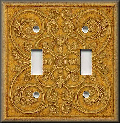 Metal Light Switch Plate Cover - French Pattern Design Honey Gold Home Decor