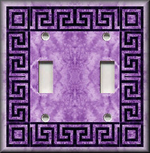 Light switch plate cover greek key purple bathroom home decor for Light purple bathroom accessories