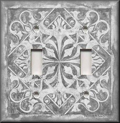 Light Switch Cover Patterns - Metal Light Switch Plate Cover - Home Decor - Tuscan Tile Pattern - Light Grey