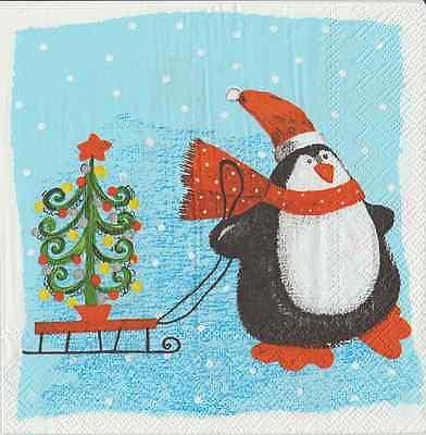 IHR Christmas Penguin Sleighride Blue 4 Single Napkins Decoupage