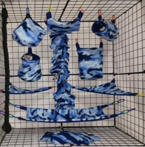 Blue Camo*15 PC Sugar Glider Cage set * Rat * double layer Fleece