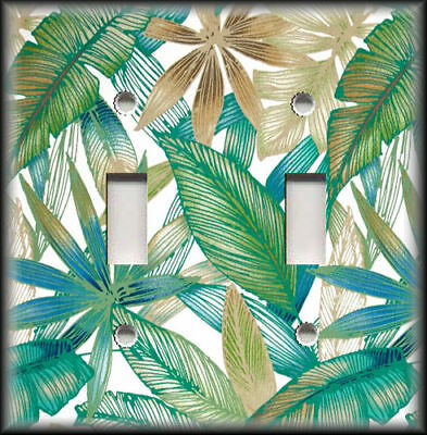 Metal Light Switch Plate Cover Palm Leaves Design Tropical Design Home Decor 01