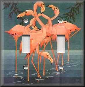 Light Switch Plate Cover Vintage Decor Pink Flamingos Home