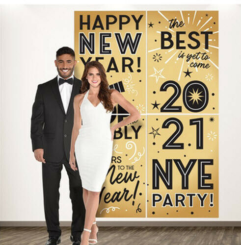 HAPPY NEW YEAR EVE 2021 Scene Setter party photo wall Backdrop gold & black 6