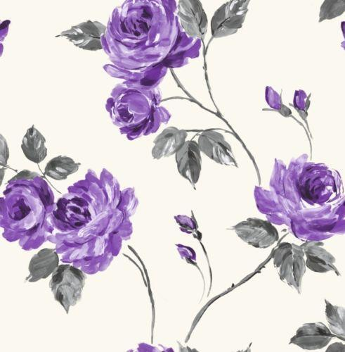 Purple grey wallpaper ebay - Decoratie wallpaper eetkamer ...