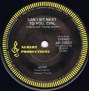 """Vinyl Records AC/DC  Single """"Can I Sit Next To You Girl"""" North Plympton West Torrens Area Preview"""