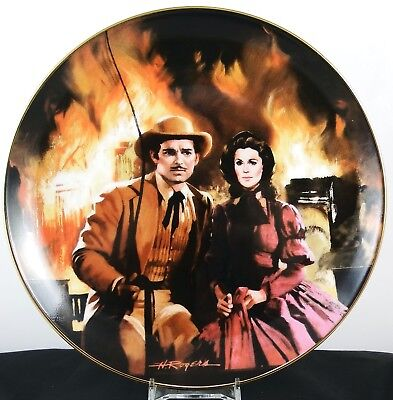 Gone With The Wind Collectors Plate ~ The Burning of Atlanta with Paperwork