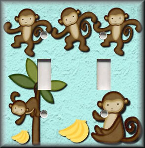 Light Switch Plate Cover Cute Monkey Blue Kids Room Kids Bathroom