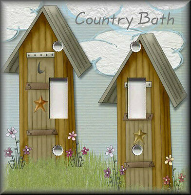 Lighting Luna Bath - Metal Light Switch Plate Cover - Country Bath Outhouse Home Decor Country Decor