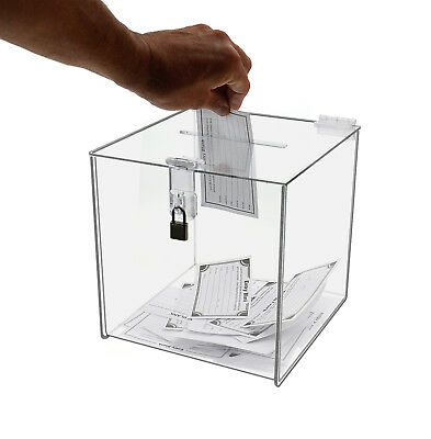 Clear 8 X 8 Locking Ballot Donation Suggestion Box Contest Cube Acrylic