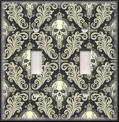 Metal Light Switch Plate Cover - Gothic Decor Black Grey Skull Damask Pattern