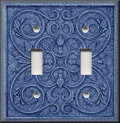 Light Switch Cover Patterns - Metal Light Switch Plate Cover - Home Decor - French Pattern Image Blue Decor