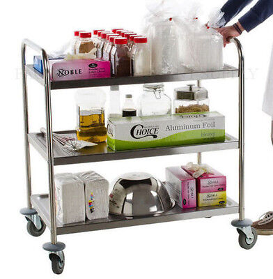 21 X 33 Stainless Steel Commercial 3 Shelf Utility Office Hotel Kitchen Cart