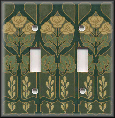 Metal Light Switch Plate Cover - Art Nouveau Decor - Floral Pattern Dark Green